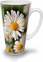 Kamille Foto Natur Weiß Keramisch Latte Becher 17 oz | Wellcoda