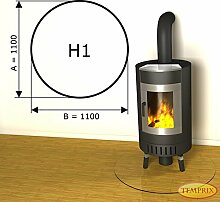Kamin Glasplatte Bodenplatte Unterlegplatte Kaminplatte Funkenschutz mit Facette H1