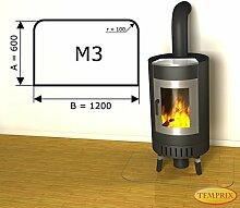 Kamin Glasplatte Bodenplatte Unterlegplatte Kaminplatte Funkenschutz mit Facette M3