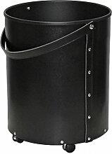 Kamin Holzkorb regeneriertes Leder schwarz mit Rollen 40x50 cm