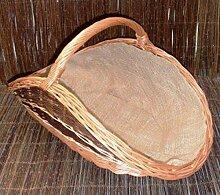 Kamin Kaminkorb Weide Handgemacht Korb mit einem Griff Dekoration verschiedene Varianten zur Auswahl (KDK007 - mit grüner Einsatz, besetzt)