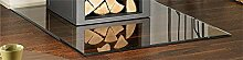 Kamin Ofen Bodenplatte Glas Quadrat 6-8mm Glasplatte Glasbodenplatte Quadrat 1100x1100 mm