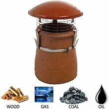 Kamin Topf Regen Kaminabdeckung/GAP für Kaminofen Holzofen, logburner Multibrennstoff Terracotta I Farbe