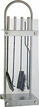 Kaminbesteck 4-teilig mit Edelstahlgriffen ca. 73 cm hoch - Kamingarnitur mit Glasständer bestehend aus Kehrschaufel, Schürhaken, Holzzange + Besen