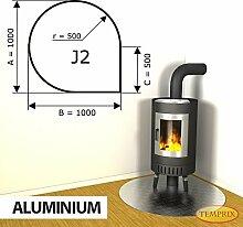 Kaminbodenplatte Funkenschutz Aluminium Kamin Ofen Kaminofen J2 - 1.000 x 1.000 x 2 mm (Aluminium)