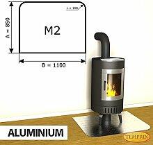 Kaminbodenplatte Funkenschutz Aluminium Kaminofen Ofen Kamin M2 - 850 x 1.100 x 2 mm (Aluminium)