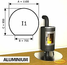 Kaminbodenplatte Funkenschutz Aluminium Kaminofen Ofen Kamin I1 - 950 x 1.100 x 2 mm (Aluminium)