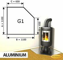 Kaminbodenplatte Funkenschutz Aluminium Kaminofen Ofen Kamin G1 - 1.100 x 1.100 x 2 mm (Aluminium)
