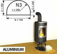 Kaminbodenplatte Funkenschutz Aluminium Kaminofen Ofen Kamin N3 - 450 x 700 x 2 mm (Aluminium)