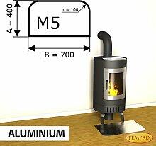 Kaminbodenplatte Funkenschutz Aluminium Kaminofen Ofen Kamin M5 - 400 x 700 x 2 mm (Aluminium)