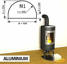 Kaminbodenplatte Funkenschutz Aluminium Kaminofen Ofen Kamin N1 - 550 x 900 x 2 mm (Aluminium)