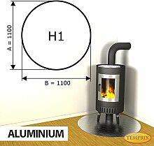 Kaminbodenplatte Funkenschutz Aluminium Kaminofen Ofen Kamin H1 - 1.100 x 1.100 x 2 mm (Aluminium)
