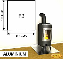 Kaminbodenplatte Funkenschutz Aluminium Ofen Kaminofen Kamin F2 - 1.100 x 1.000 x 2 mm (Aluminium)