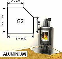 Kaminbodenplatte Funkenschutz Aluminium Ofen Kaminofen Kamin G2 - 1.000 x 1.000 x 2 mm (Aluminium)