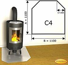 Kaminbodenplatte Funkenschutz Edelstahl Kaminofen Ofen Kamin C4 - 1.100 x 1.100 x 1 mm (Edelstahl)
