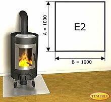 Kaminbodenplatte Funkenschutz Edelstahl Kaminofen Ofen Kamin E2 - 1.000 x 1.000 x 1 mm (Edelstahl)