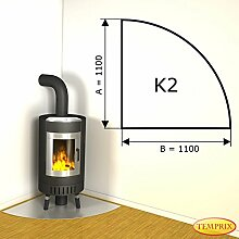 Kaminbodenplatte Funkenschutz Edelstahl Kaminofen Ofen Kamin K2 - 1.100 x 1.100 x 1 mm (Edelstahl)