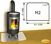 Kaminbodenplatte Funkenschutz Edelstahl Kaminofen Ofen Kamin M2 - 850 x 1.100 x 1 mm (Edelstahl)