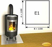 Kaminbodenplatte Funkenschutz Edelstahl Ofen Kaminofen Kamin E1 - 1.100 x 1.100 x 1 mm (Edelstahl)