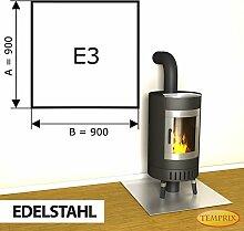 Kaminbodenplatte Funkenschutz Edelstahl Ofen Kaminofen Kamin E3 - 900 x 900 x 1 mm (Edelstahl)