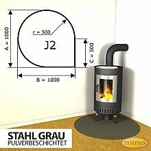 Kaminbodenplatte Funkenschutz Stahl grau Kamin Ofen Kaminofen J2 - 1.000 x 1.000 x 2 mm (Stahl grau)