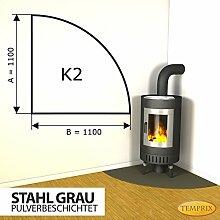Kaminbodenplatte Funkenschutz Stahl grau Kaminofen Ofen Kamin K2 - 1.100 x 1.100 x 2 mm (Stahl grau)
