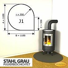 Kaminbodenplatte Funkenschutz Stahl grau Kaminofen Ofen Kamin J1 - 1.100 x 1.100 x 2 mm (Stahl grau)