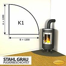 Kaminbodenplatte Funkenschutz Stahl grau Kaminofen Ofen Kamin K1 - 1.200 x 1.200 x 2 mm (Stahl grau)