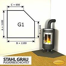Kaminbodenplatte Funkenschutz Stahl grau Kaminofen Ofen Kamin G1 - 1.100 x 1.100 x 2 mm (Stahl grau)