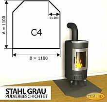 Kaminbodenplatte Funkenschutz Stahl grau Kaminofen