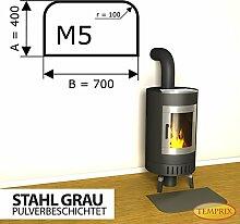 Kaminbodenplatte Funkenschutz Stahl grau Kaminofen Ofen Kamin M5 - 400 x 700 x 2 mm (Stahl grau)
