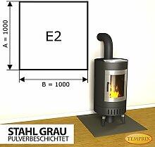 Kaminbodenplatte Funkenschutz Stahl grau Kaminofen Ofen Kamin E2 - 1.000 x 1.000 x 2 mm (Stahl grau)