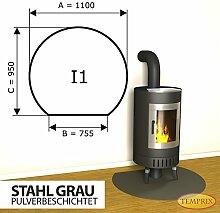 Kaminbodenplatte Funkenschutz Stahl grau Kaminofen Ofen Kamin I1 - 950 x 1.100 x 2 mm (Stahl grau)