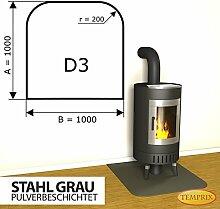 Kaminbodenplatte Funkenschutz Stahl grau Ofen Kaminofen Kamin D3 - 1.000 x 1.000 x 2 mm (Stahl grau)