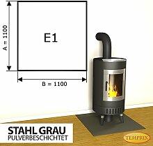 Kaminbodenplatte Funkenschutz Stahl grau Ofen Kaminofen Kamin E1 - 1.100 x 1.100 x 2 mm (Stahl grau)