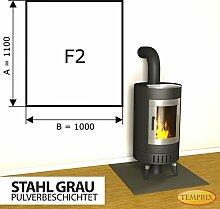 Kaminbodenplatte Funkenschutz Stahl grau Ofen Kaminofen Kamin F2 - 1.100 x 1.000 x 2 mm (Stahl grau)