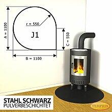 Kaminbodenplatte Funkenschutz Stahl schwarz Kaminofen Ofen Kamin J1 - 1.100 x 1.100 x 2 mm (Stahl schwarz)