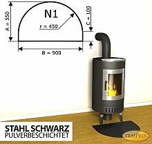 Kaminbodenplatte Funkenschutz Stahl schwarz Kaminofen Ofen Kamin N1 - 550 x 900 x 2 mm (Stahl schwarz)