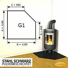 Kaminbodenplatte Funkenschutz Stahl schwarz Kaminofen Ofen Kamin G1 - 1.100 x 1.100 x 2 mm (Stahl schwarz)