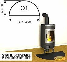 Kaminbodenplatte Funkenschutz Stahl schwarz Kaminofen Ofen Kamin O1 - 500 x 1.000 x 2 mm (Stahl schwarz)