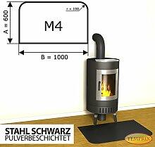 Kaminbodenplatte Funkenschutz Stahl schwarz Kaminofen Ofen Kamin M4 - 600 x 1.000 x 2 mm (Stahl schwarz)