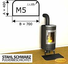 Kaminbodenplatte Funkenschutz Stahl schwarz