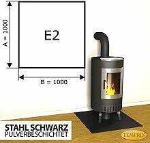 Kaminbodenplatte Funkenschutz Stahl schwarz Kaminofen Ofen Kamin E2 - 1.000 x 1.000 x 2 mm (Stahl schwarz)