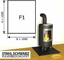 Kaminbodenplatte Funkenschutz Stahl schwarz Kaminofen Ofen Kamin F1 - 1.200 x 1.000 x 2 mm (Stahl schwarz)