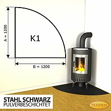Kaminbodenplatte Funkenschutz Stahl schwarz Kaminofen Ofen Kamin K1 - 1.200 x 1.200 x 2 mm (Stahl schwarz)
