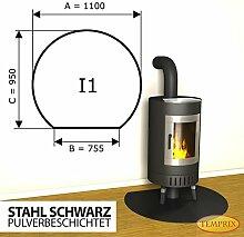 Kaminbodenplatte Funkenschutz Stahl schwarz Kaminofen Ofen Kamin I1 - 950 x 1.100 x 2 mm (Stahl schwarz)