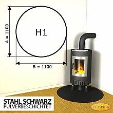 Kaminbodenplatte Funkenschutz Stahl schwarz Kaminofen Ofen Kamin H1 - 1.100 x 1.100 x 2 mm (Stahl schwarz)