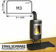 Kaminbodenplatte Funkenschutz Stahl schwarz Kaminofen Ofen Kamin M3 - 600 x 1.200 x 2 mm (Stahl schwarz)