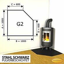 Kaminbodenplatte Funkenschutz Stahl schwarz Ofen Kaminofen Kamin G2 - 1.000 x 1.000 x 2 mm (Stahl schwarz)