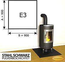 Kaminbodenplatte Funkenschutz Stahl schwarz Ofen Kaminofen Kamin E3 - 900 x 900 x 2 mm (Stahl schwarz)